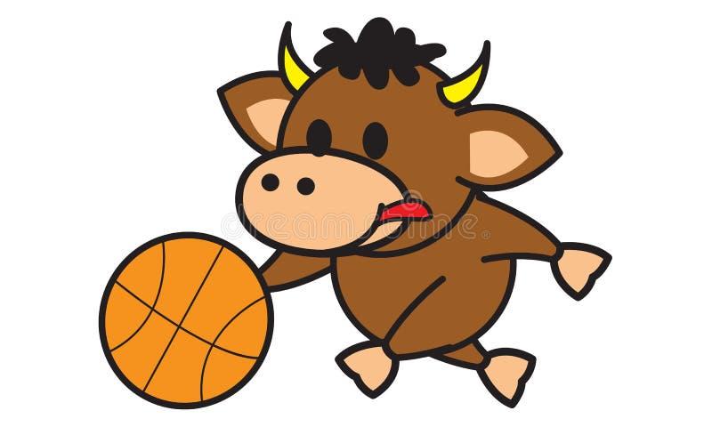 Bull Playing Basketball stock illustration