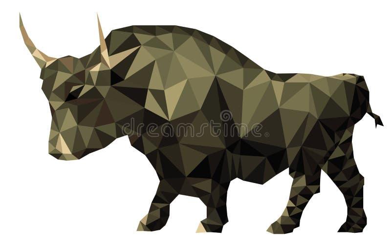Bull polygon geometrical market trend symbol. Vector polygon Illustration of bull buy symbol of stock market trend royalty free illustration