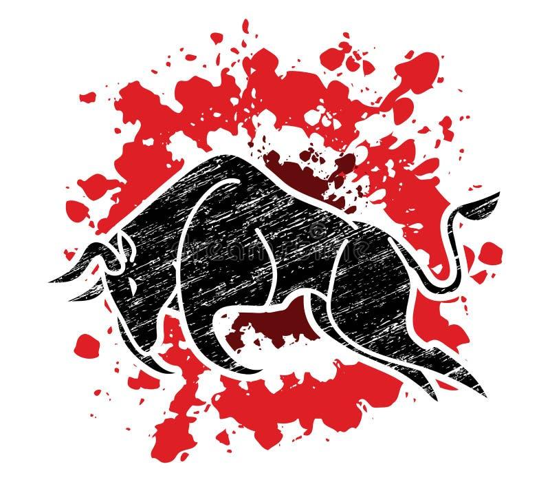 Bull que carga, gráfico del ataque de Bull ilustración del vector