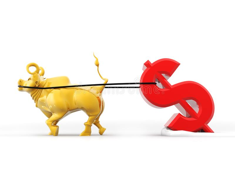 Bull que quita símbolo del curency de imagen india de la representación del dólar 3d stock de ilustración