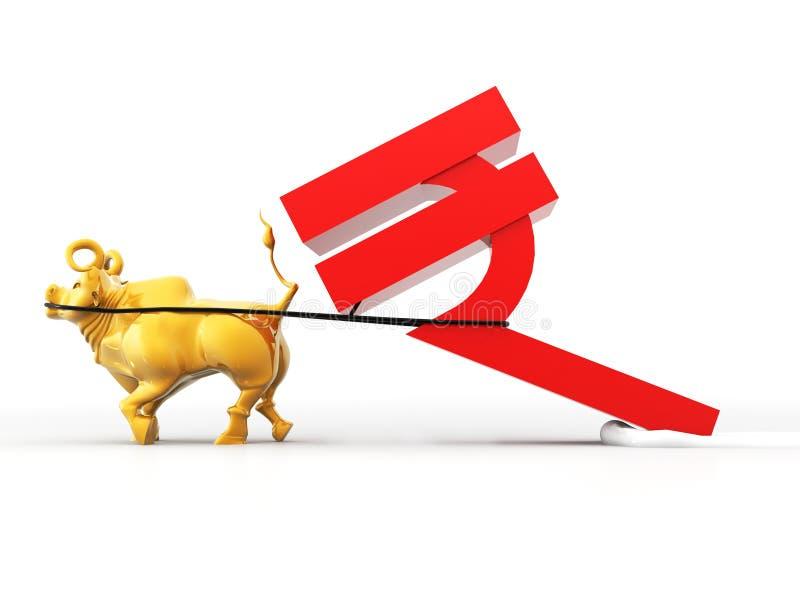Bull que quita símbolo del curency de imagen rupay india de la representación 3d libre illustration