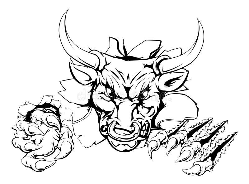 Bull que rasga-se através do fundo ilustração stock