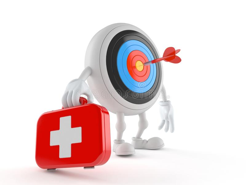 Bull`s eye character holding first aid kit stock illustration
