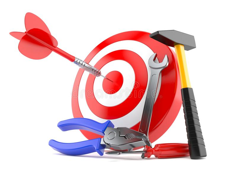 Bull`s eye with work tools. On white background stock illustration