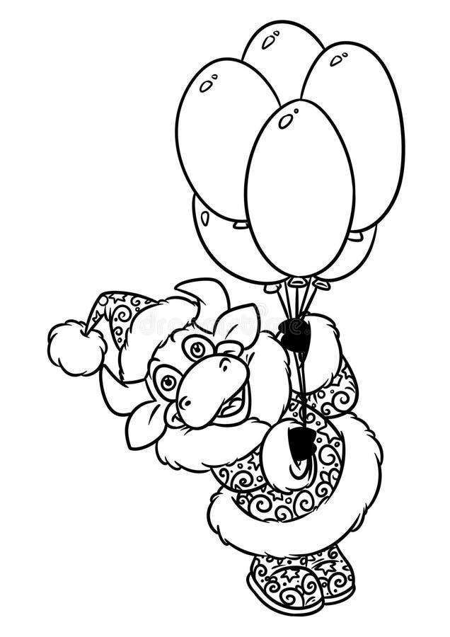 Bull santa claus flight balloons christmas animal character cartoon coloring page vector illustration