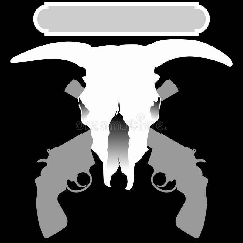 Download Bull Scull Mit Zwei Gekreuzten Revolvern Vektor Abbildung - Illustration von gewehren, amerika: 9085110