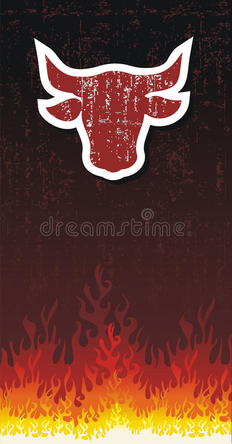 Download Bull silhouette with fire stock vector. Image of danger - 20866176