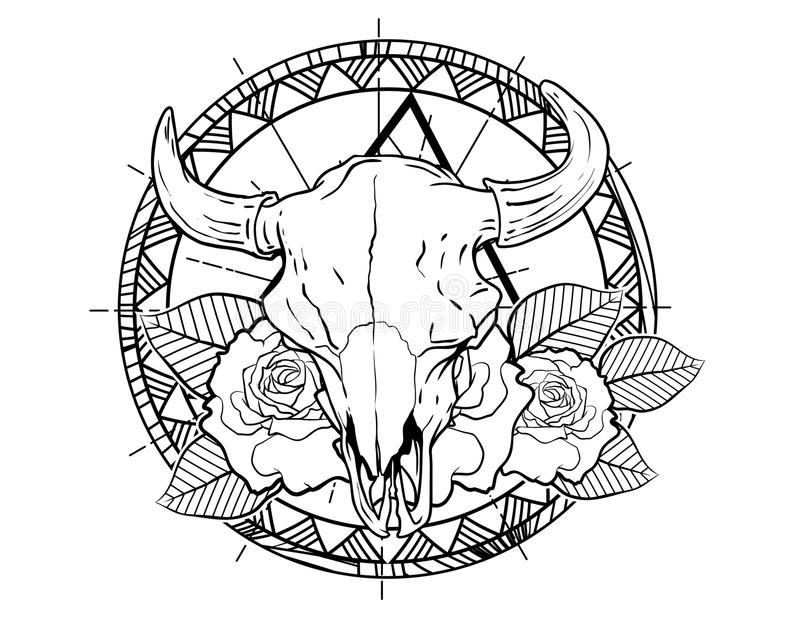Bull skull tattoo sketch with roses and leafes vintage neo traditional tattoo sketch. Hand drawn retro animal tattoo sketch with roses in vintage style. ornate stock illustration
