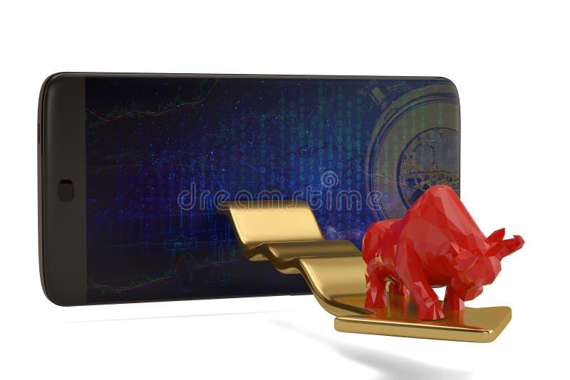 Bull with smart phone economical stock market chart.3D illustration. stock photo
