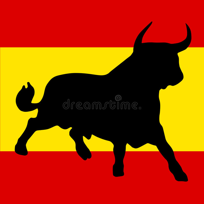 Bull and the spanish colors vector illustration