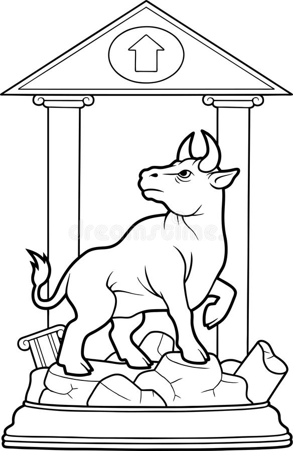 Bull stands on a pedestal. Wall Street bull stands on a pedestal stock illustration
