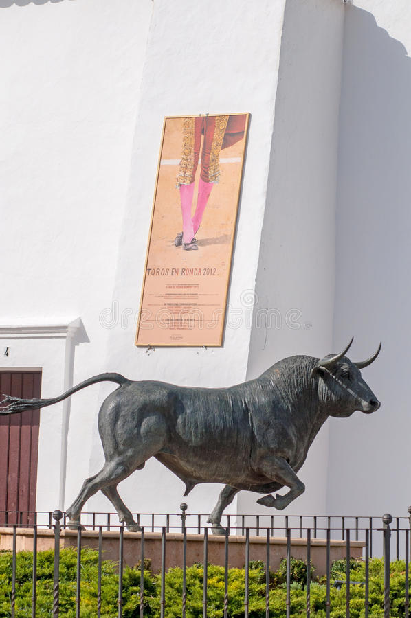 Bull statue outside the plaza de toros. In ronda, spai stock photos