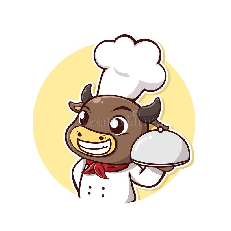 Bull steak chef smile and happy. Character cow take a chef dress and steak holder with smile and happy stock illustration
