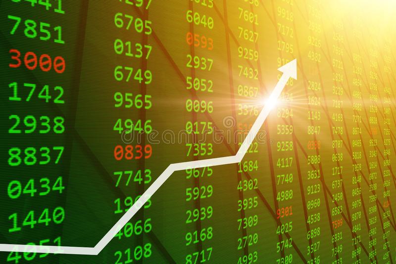 Bull Stock Market - Good stock buy prices up from Global economic and financial  grow. Green market concept stock illustration