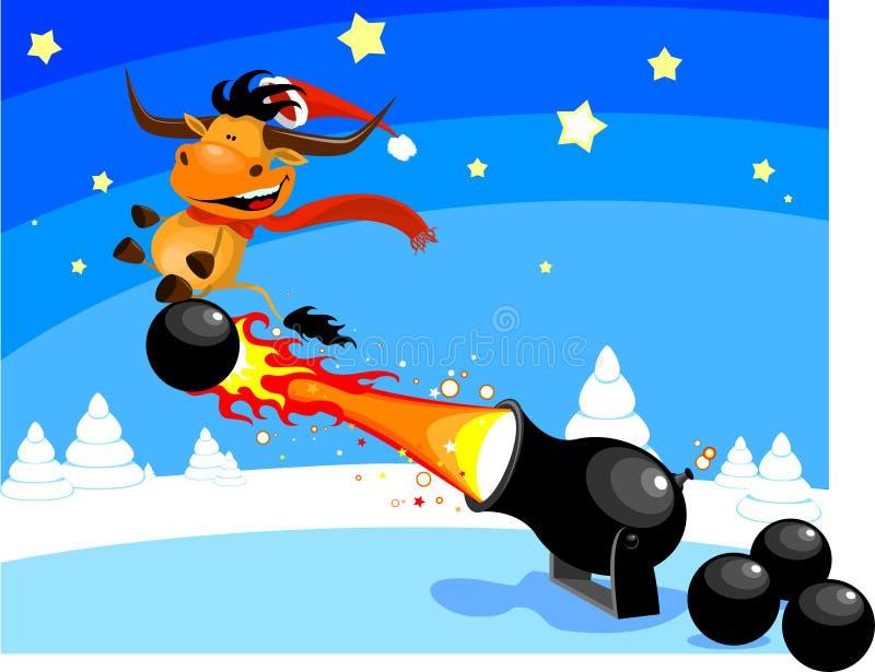 Bull sulla sfera di cannone illustrazione vettoriale