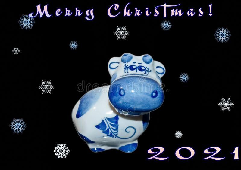 Russian Christmas Calendar 2021 Bull The Symbol Of The 2021 New Year According To The Eastern Calendar Bull In The Russian Traditional Gzhel Style Stock Image Image Of Cute Decor 186160149