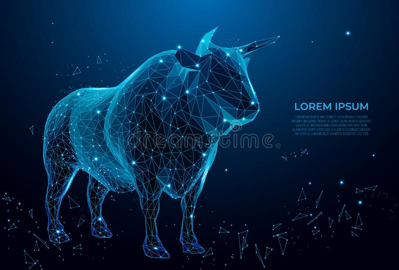 Bull symbol of royalty. Cow symbol of fertility, nurturing, and power for centuries.polygonal futuristic image. wireframe mesh art. Bull symbol of royalty. Cow royalty free stock image