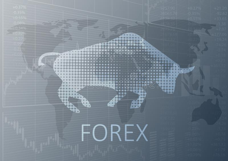 Bull symbol and the word forex stock illustration