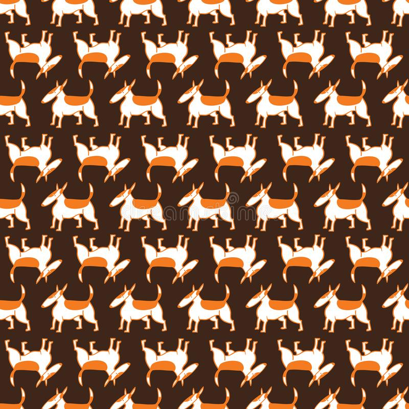 Bull terrier dogs seamless pattern. Background with pets character in doodle simple style. Vector illustration royalty free illustration