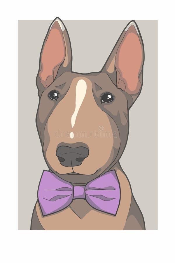 Bull terrier-hond met purpere de vectorafbeeldingenillustratie van het bowtieportret stock illustratie