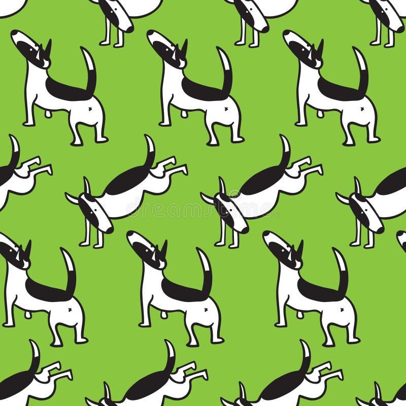 Bull terrier jest prześladowanym bezszwowego wzór Tło z zwierzęcia domowego charact royalty ilustracja