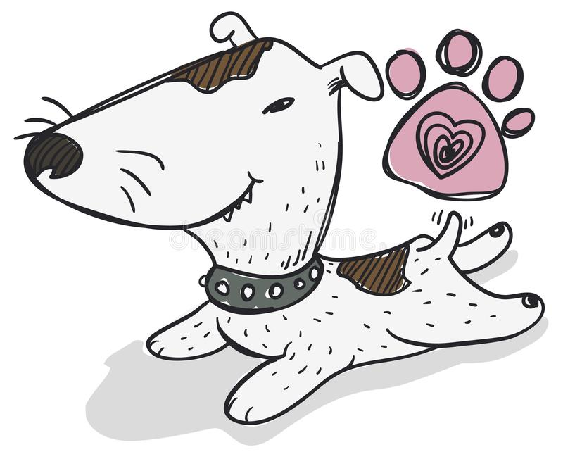 Bull-terrier mignon fixant sur le plancher, illustration de vecteur illustration de vecteur