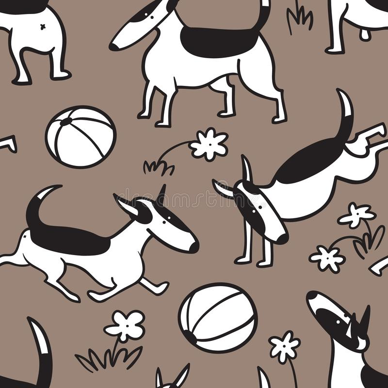 Bull terrier persigue el modelo inconsútil Fondo con el charact de los animales domésticos ilustración del vector