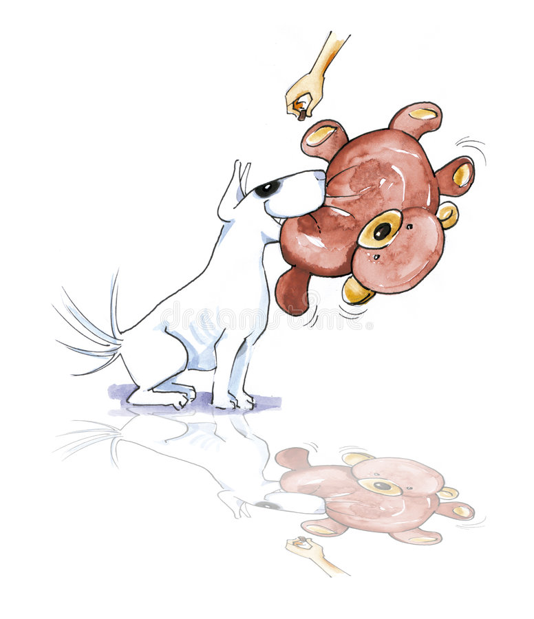 Download Bull Terrier With Teddy Bear Stock Illustration - Illustration of pets, white: 8048292