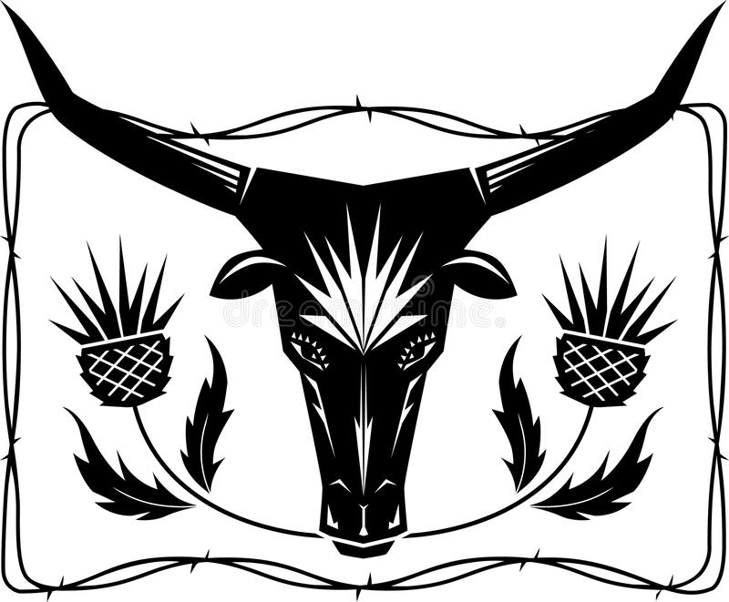 Download Bull and Thistles stock vector. Image of design, crest - 30494269