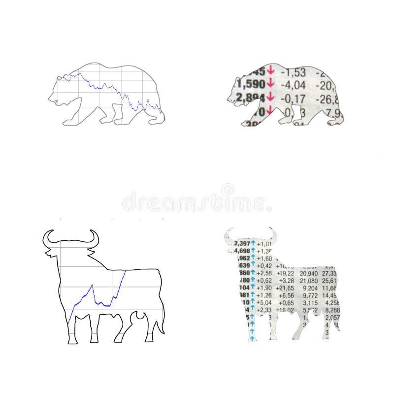 Bull und Baissemarkt lizenzfreies stockbild