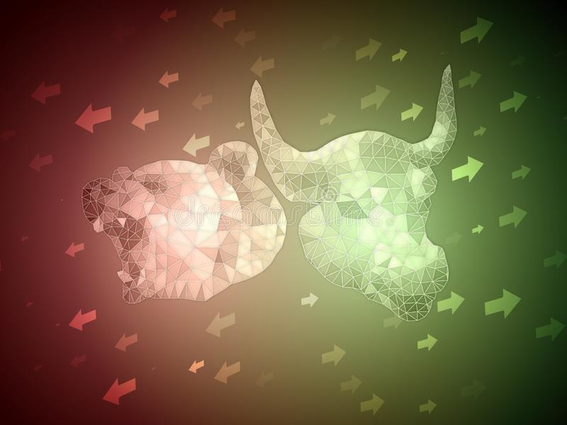 Bull verde contra o conceito vermelho da ilustração da bolsa de valores do urso com a seta para cima e para baixo para a indicaçã ilustração stock