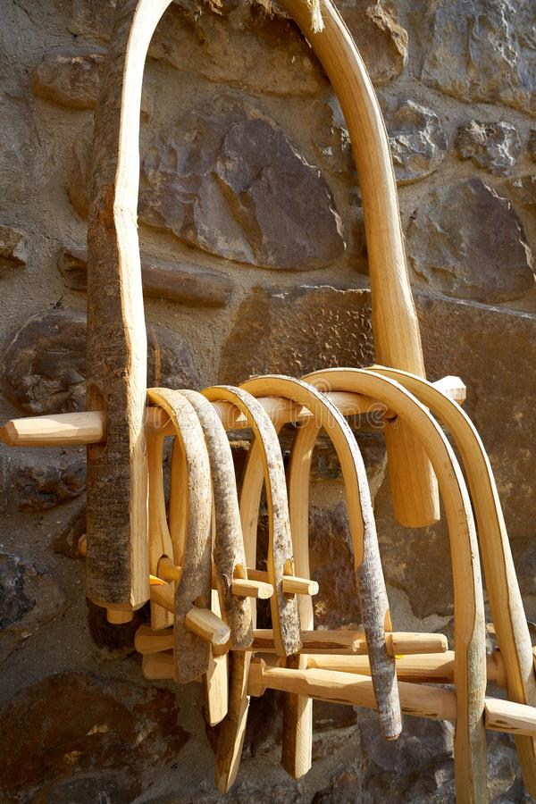 bull wooden yoke from cantabria stock image