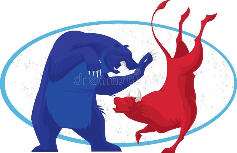 Bull y oso - la bolsa stock de ilustración