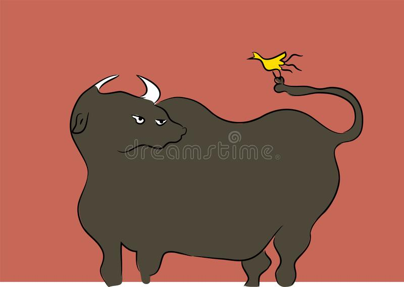 Download Bull and yellow bird stock vector. Illustration of illustration - 106698553