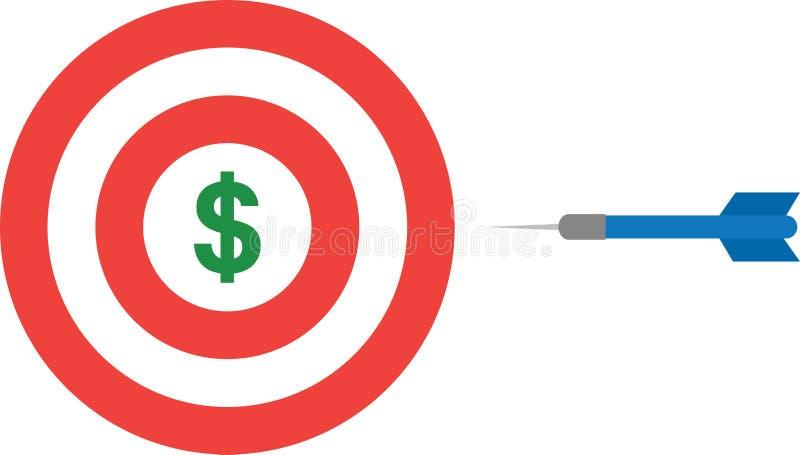 Bullauge mit Dollar und Pfeil stock abbildung