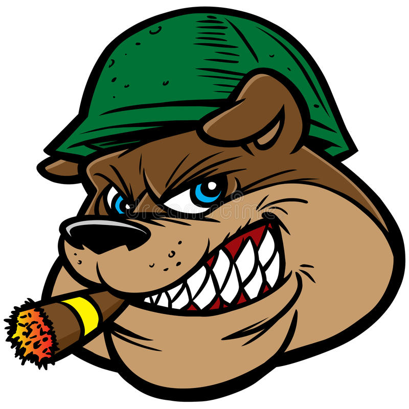 Bulldog Army Mascot stock illustration
