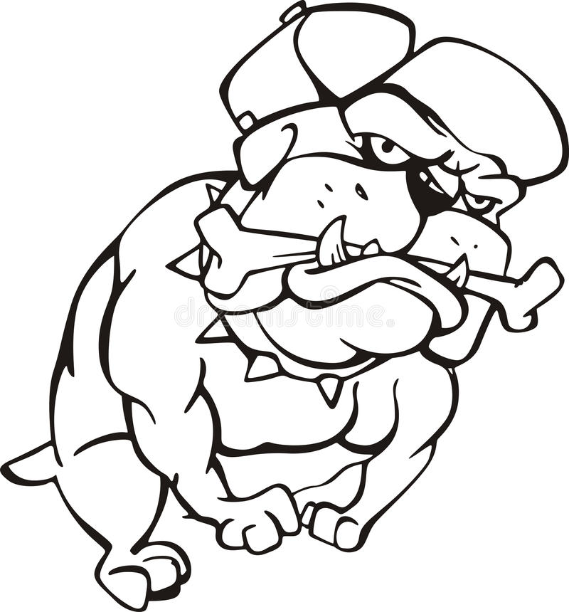 Bulldog with bone. Black and white vector illustration vector illustration