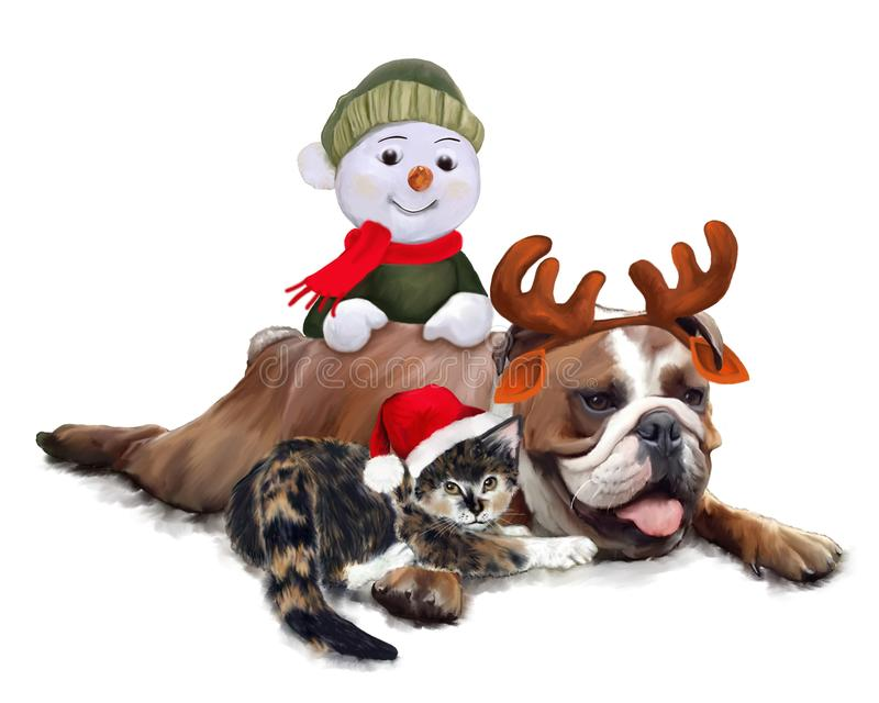 Bulldog with cat and Snowman at Christmas. Kitten between the legs of a bulldog and snowman who caresses the dog. Painting royalty free illustration