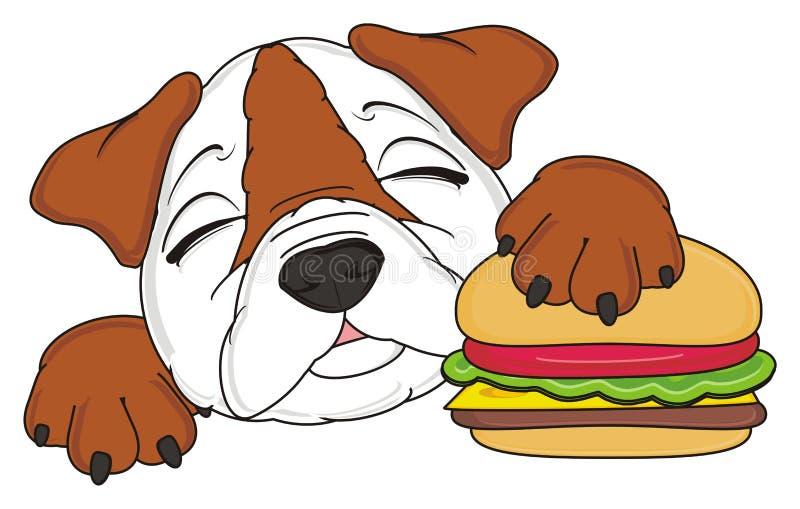 Bulldog con l'hamburger royalty illustrazione gratis
