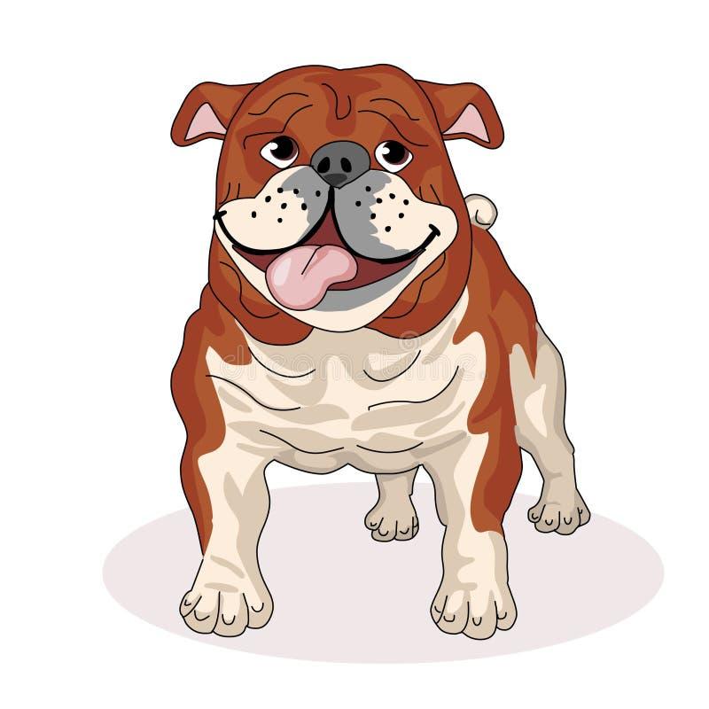 Bulldog con suo andar in giroe della lingua Cani della razza Amico dell'essere umano pets Illustrazione di vettore illustrazione vettoriale