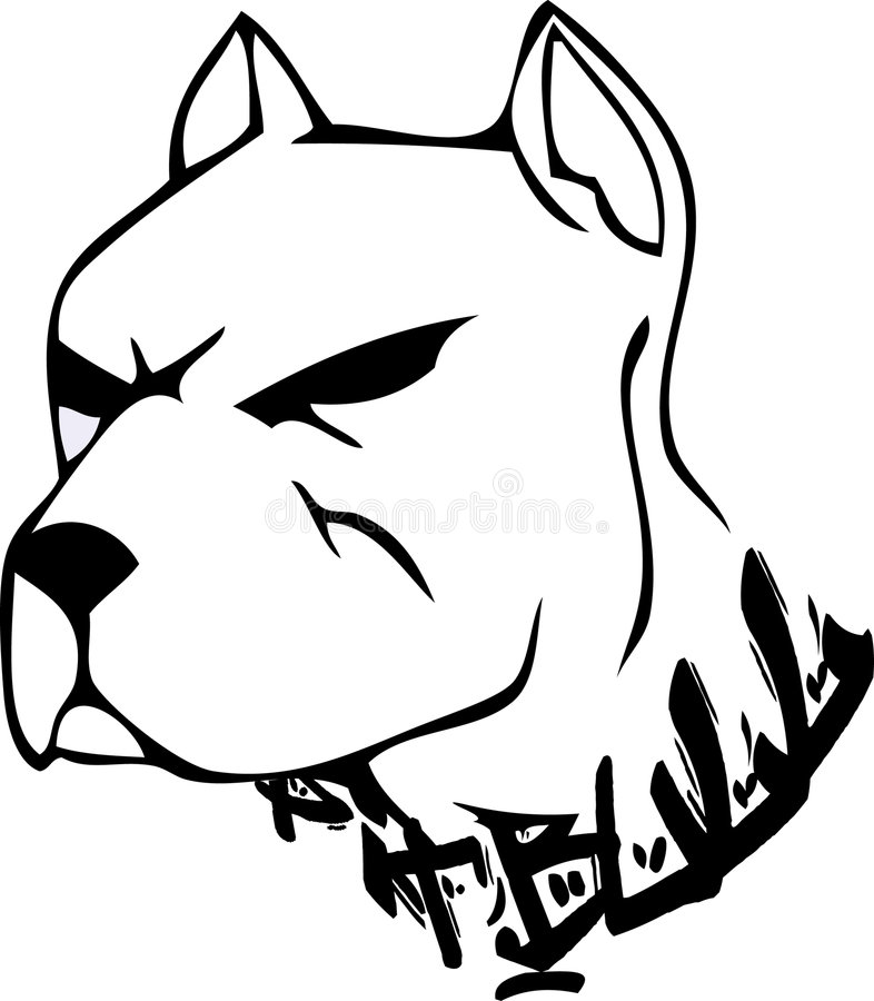 Bulldog design. A black & white illustration of the face of a mean looking pit Bulldog royalty free illustration