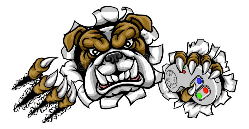 Bulldog sports Gamer Mascot. A bulldog dog cartoon character player gamer sports sport mascot holding a video games controller and ripping through the background stock illustration