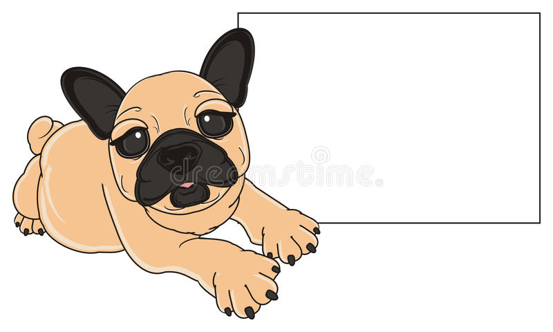 Bulldog with empty plate. Beige french bulldog lying near the clean poster vector illustration