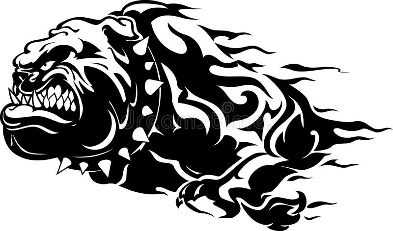 Bulldog Flame. Furious Charging abstract bulldog, isolated on white background royalty free illustration