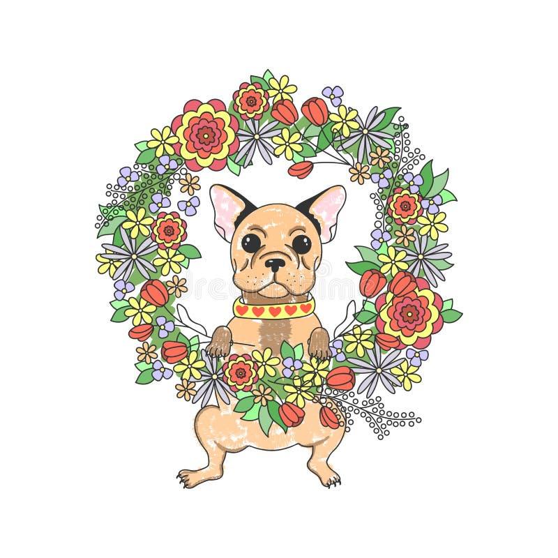 Bulldog francese con i fiori Cucciolo sveglio illustrazione vettoriale