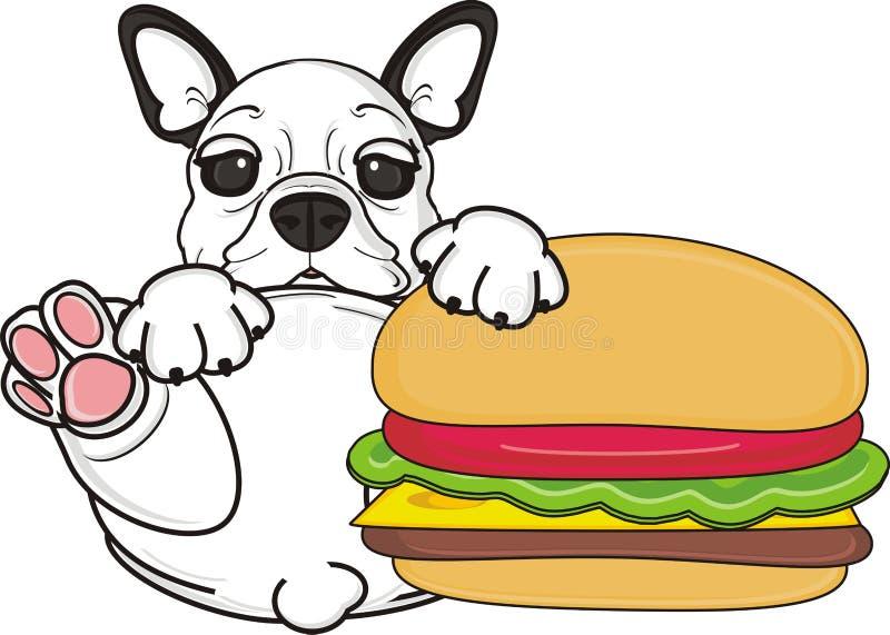 Bulldog francese con l'hamburger illustrazione di stock