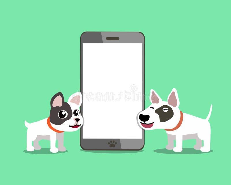 Bulldog francese del personaggio dei cartoni animati e cane di bull terrier con lo smartphone illustrazione di stock