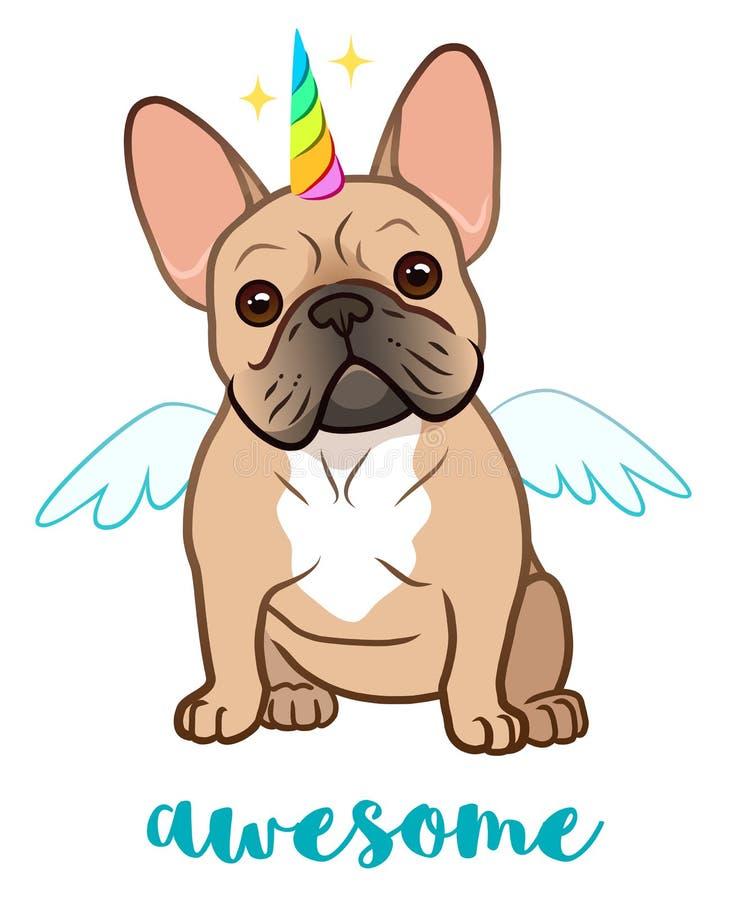 Bulldog francese dell'unicorno con l'illustrazione del corno dell'arcobaleno e del fumetto di vettore delle ali Cucciolo paffuto  illustrazione vettoriale