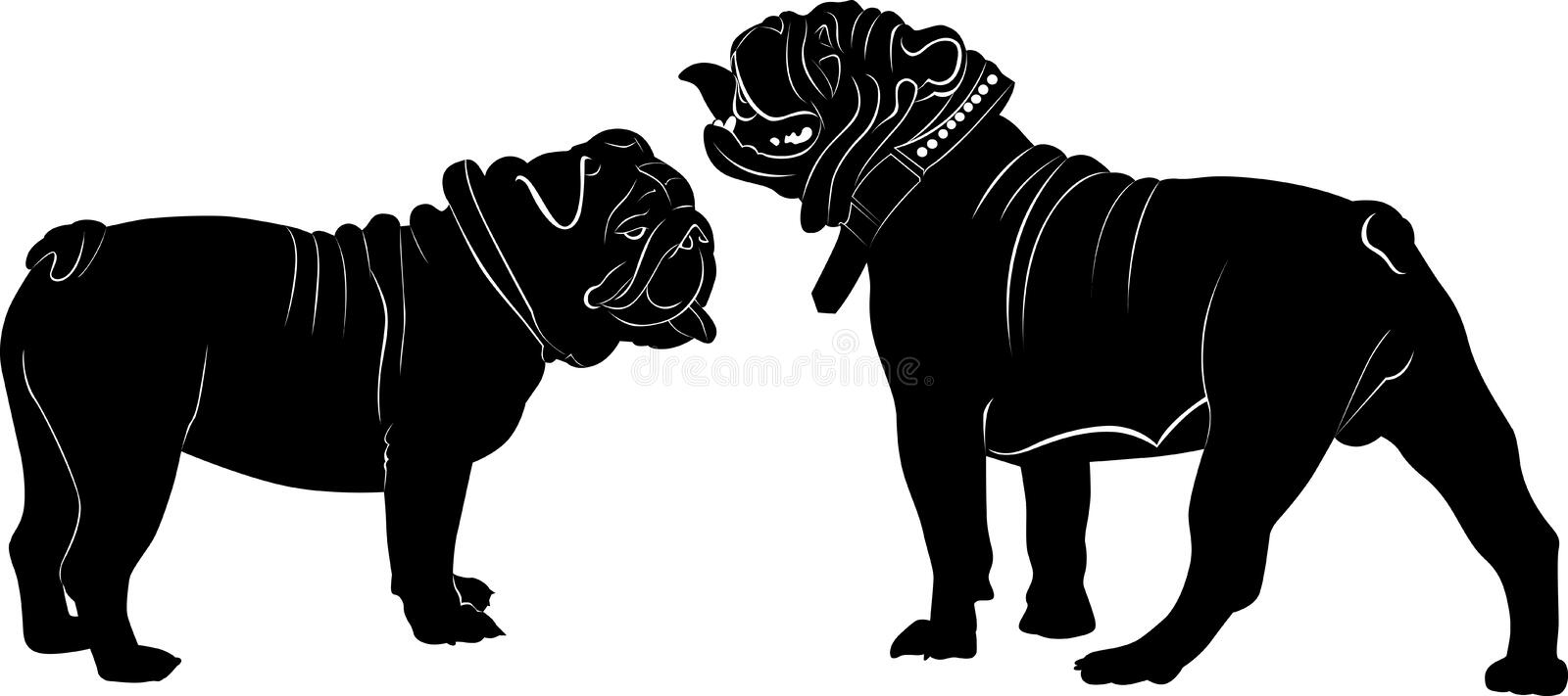 Bulldog. French Bulldog purebred dog standing in side view - vector silhouette vector illustration