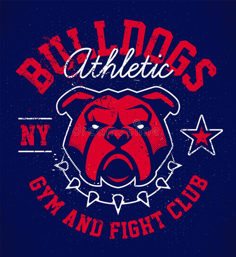 Bulldog Grunge Emblem Design. Bulldog emblem design template. Red bulldog in spiked collar on deep blue grunge background. Vector logo design for sport team stock illustration